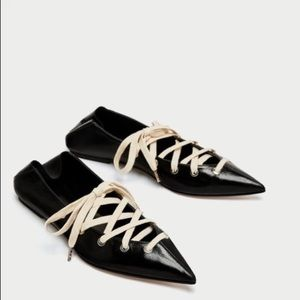 Zara Genuine Leather Mule Ballerina with LaceS